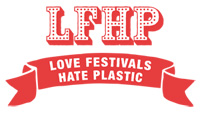 LFPH written in red with a red ribbon below saying LOVE FESTIVALS HATE PLASTIC