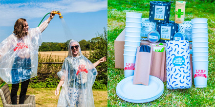 a person in a poncho with water being sprayed onto them, a set of plastic free items on grass