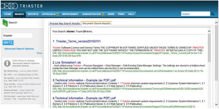 A screenshot of the a Process Library documents search displaying the results for 'Triaster'