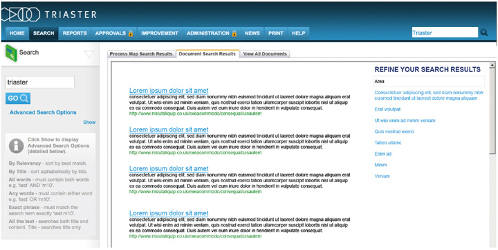 A screenshot of the a Process Library documents search displaying the results for 'Triaster' a list of several Lorem ipsum's
