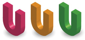 3 U's  in red, orange and green