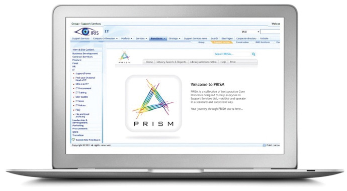 A laptop showing PRISM process library