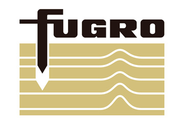 fugro written in black above a brown rectangle with with lines in layers on it