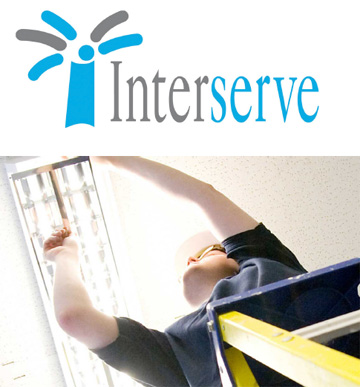 Inter written in black and serve written in blue with a palm tree in blue and black next to it  and below that a man fixing a lightbulb