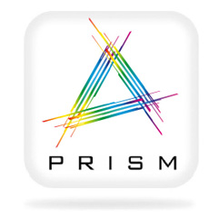 rounded square with a multicolured A and PRISM written on it