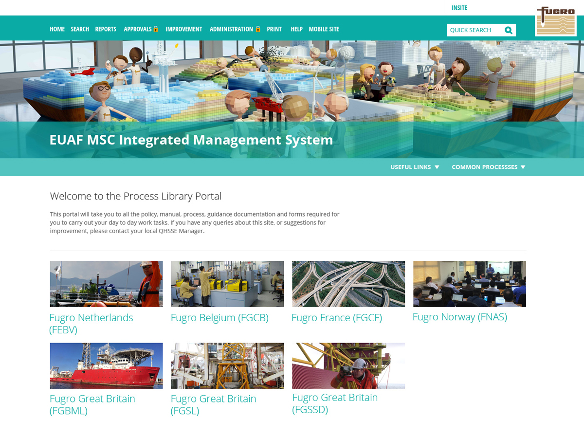 Fugro's process library portal with cartoon people and pictures to click on