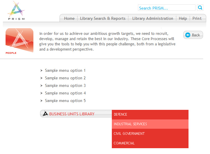 interserve's process library - PRISM - with a red box and text