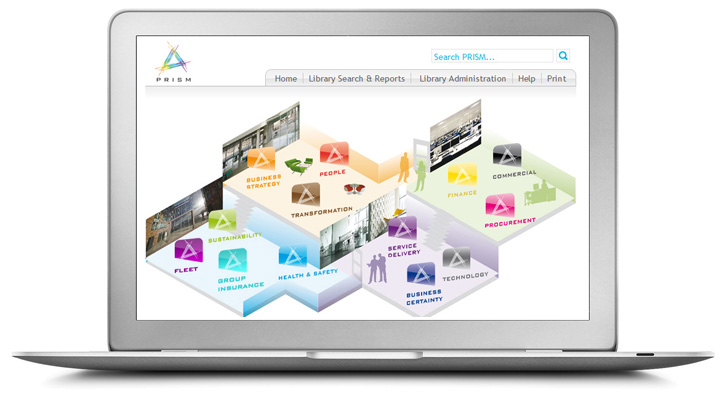 a laptop displaying interserve's process library - PRISM - with a floorplan in different colours