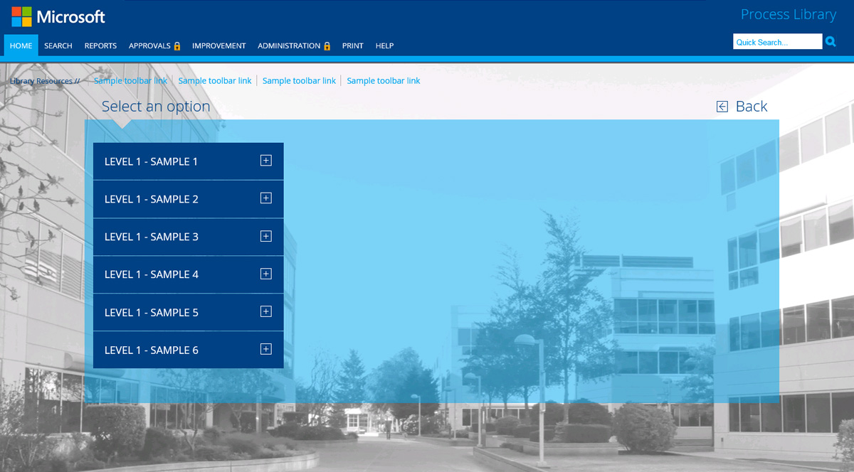 a grey background with a column of 6 blue boxes