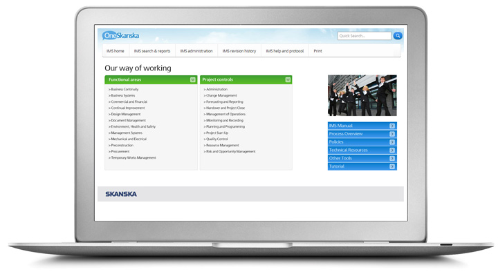 A laptop displaying skanska's process library a white background two columns with a green heading and a picture of men in suits jumping and blue buttons below that