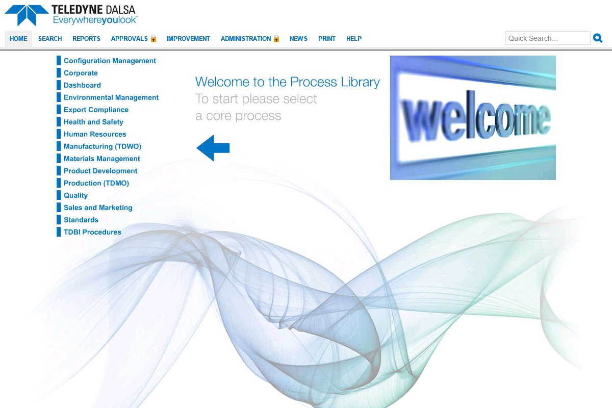 TELEDYNE DALSA's process library with blue text and a blue welcome sign