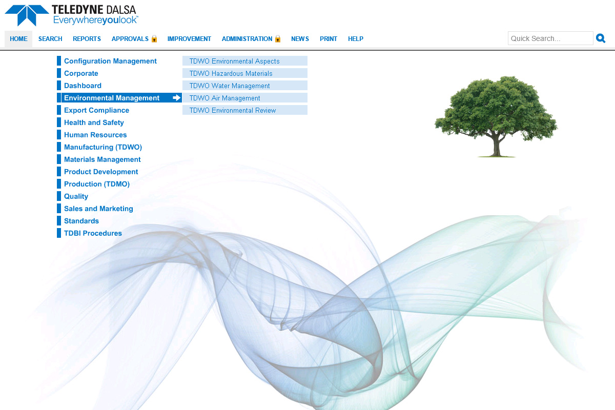 TELEDYNE DALSA's process library with blue text and a photo of a tree