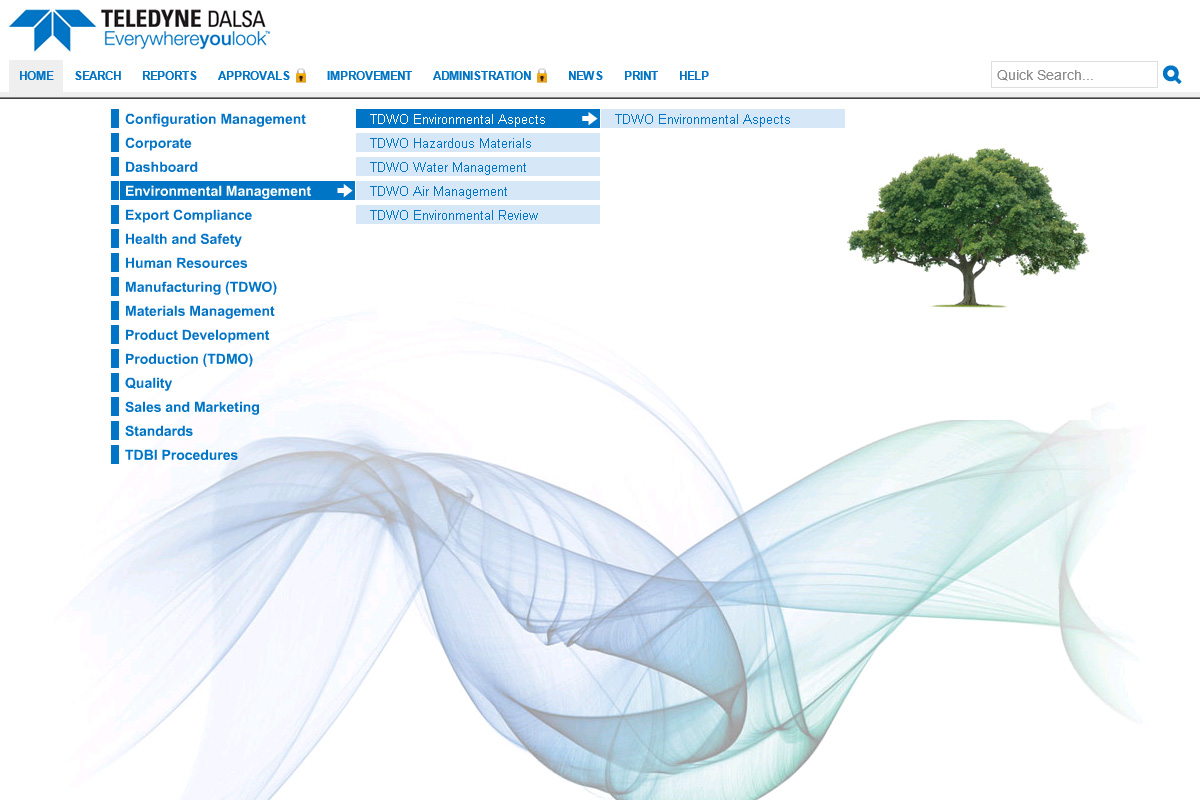 TELEDYNE DALSA's process library with blue text and a menu and a photo of a tree