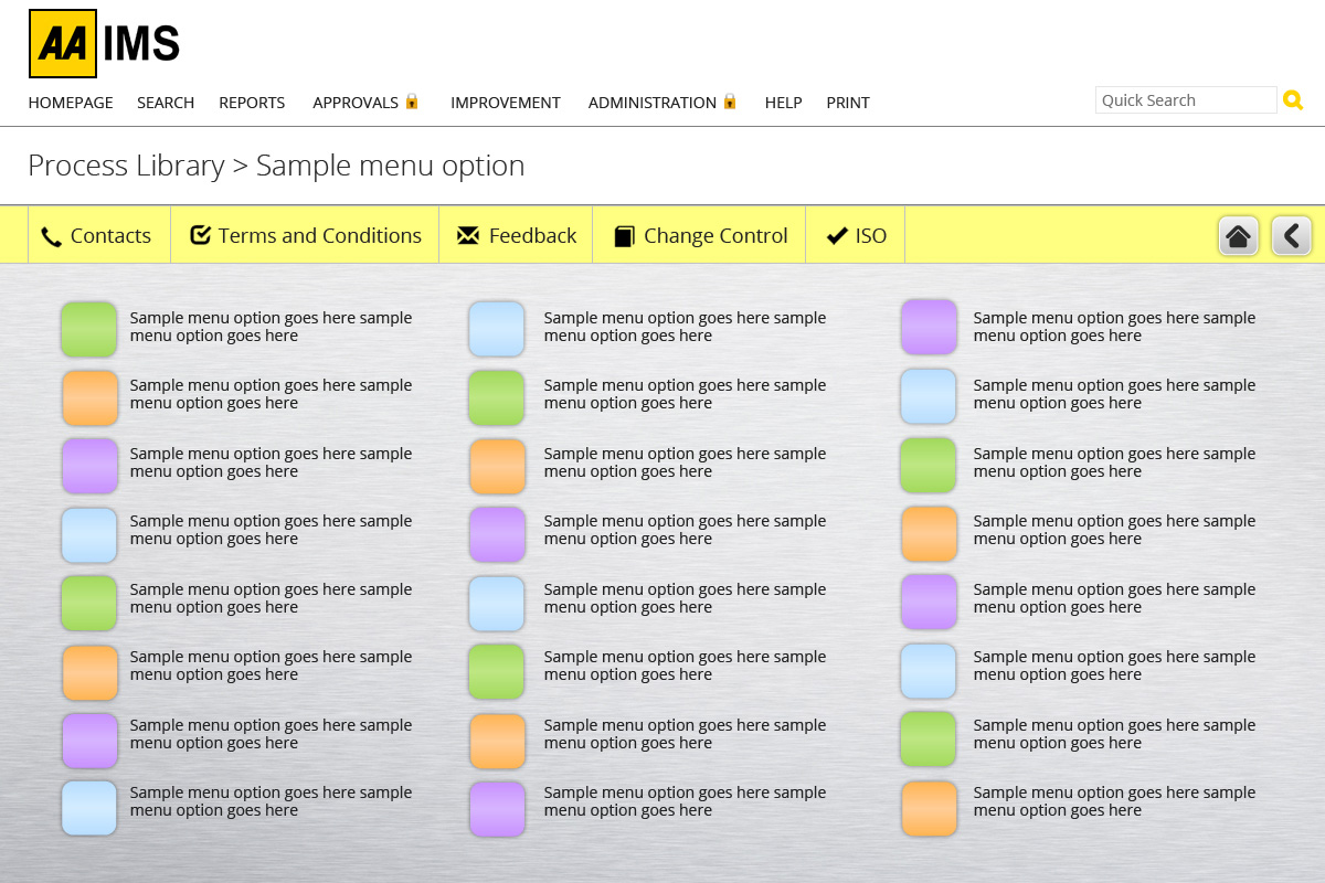 the AA IMS - a grey background and 3 columns of small squares with text next to them