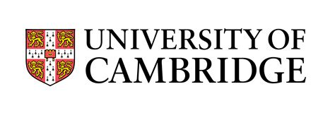 a coat of arms next to University of Cambridge written in black