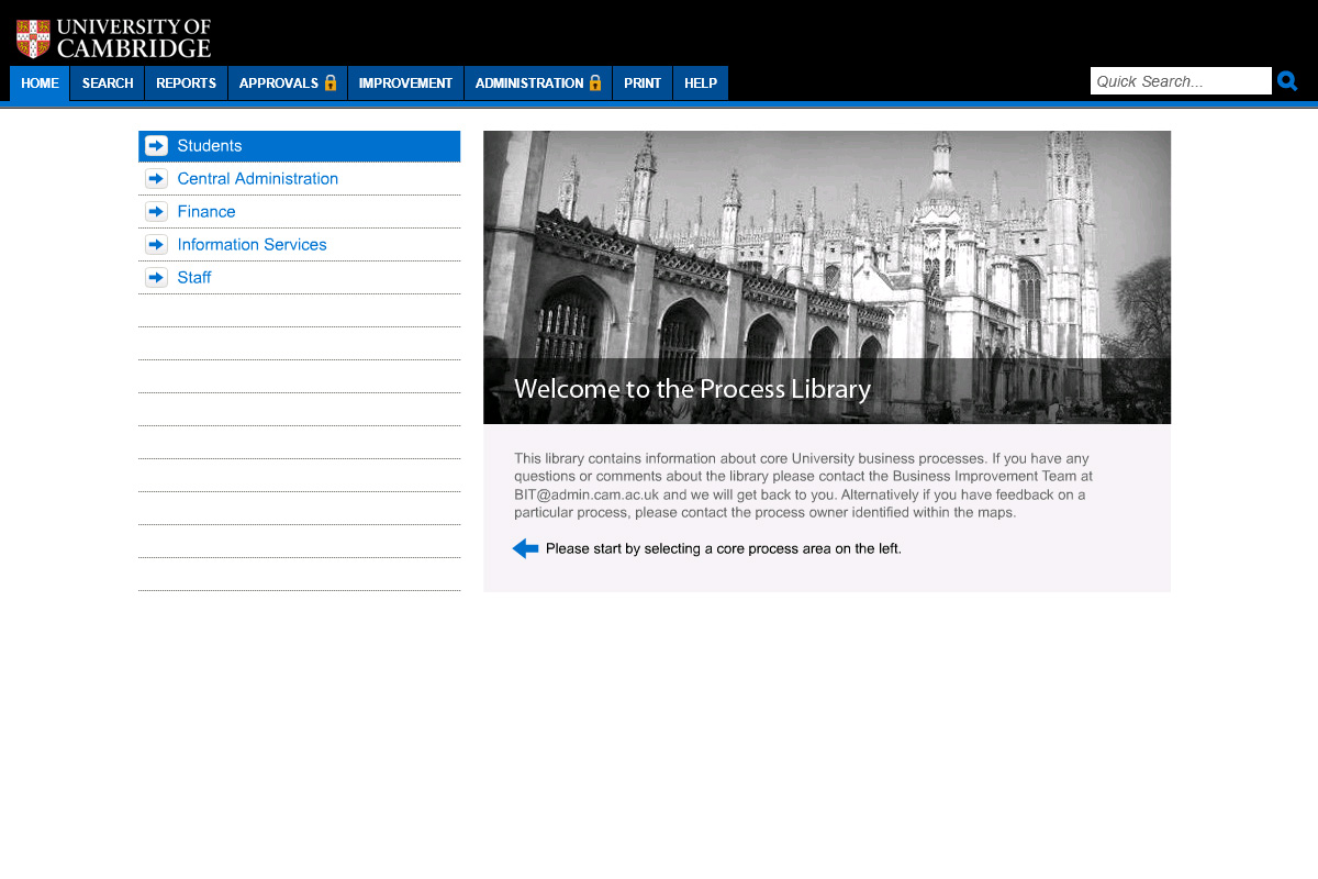 the university of cambridge's process library with a menu in blue and a black and white picture of the cathedral