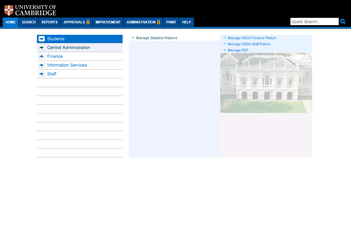 the university of cambridge's process library with a menu in blue and a picture of a stately home