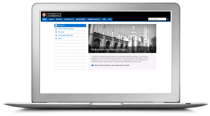 a laptop displaying the university of cambridge's process library with a menu in blue and a black and white picture of the cathedral