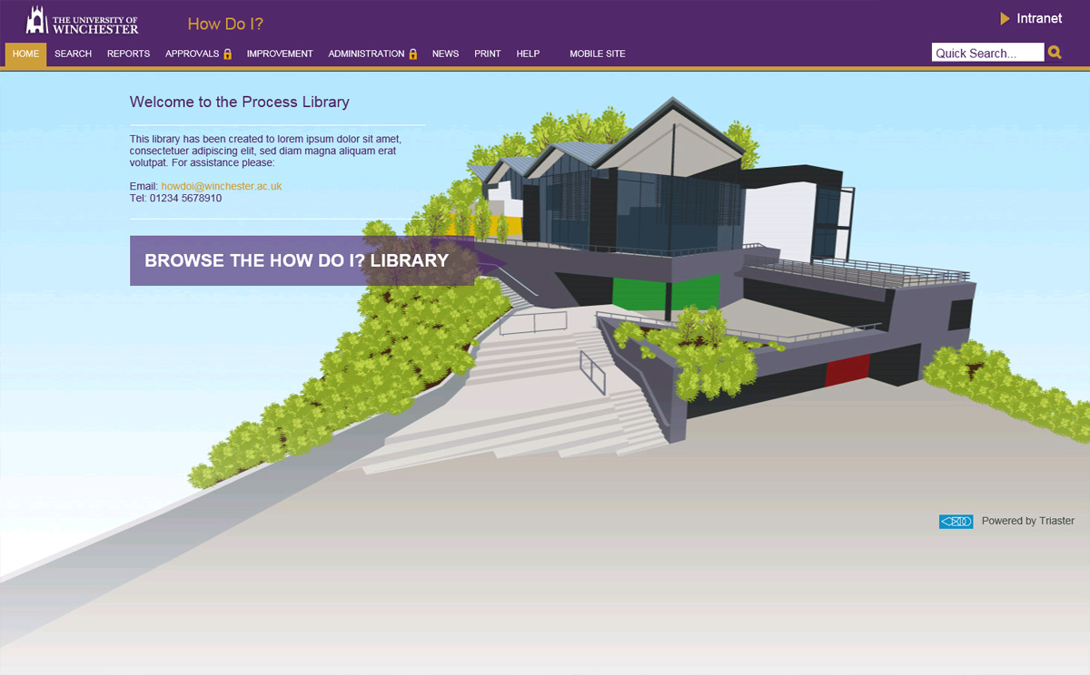 the university of winchesters process library - a graphic depiction of the university of winchester's buildings with a purple menu