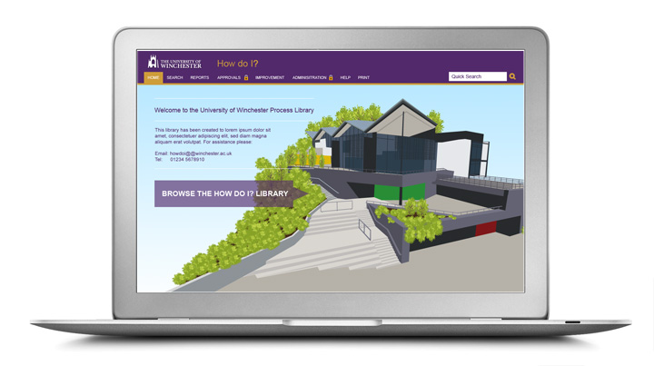 a laptop displaying the university of winchesters process library - a graphic depiction of the university of winchester's buildings with a purple menu