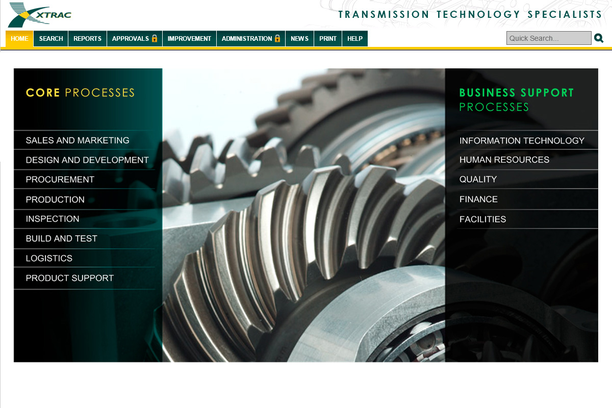 XTRAC's process library with a close up of machinery between two green columns