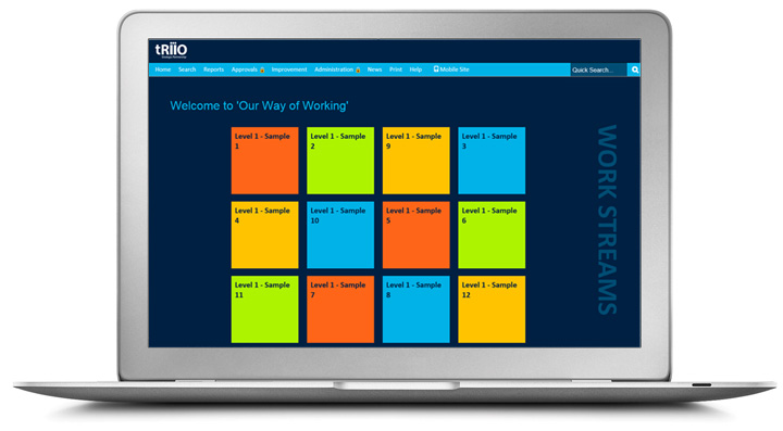 a laptop displaying tRIIO's process library - a navy background with 12 different coloured square buttons