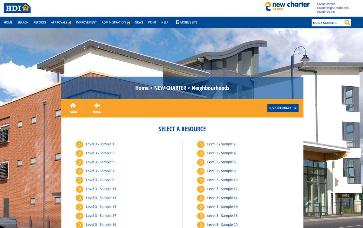 new charters process library - an office with a white and yellow box to click on