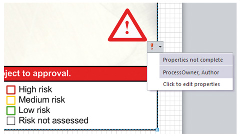 a box with high risk, medium risk, low risk in check boxes and a red '!' with a drop box coming down from it
