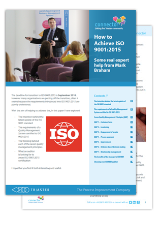 a stack of 2 a4 print outs of how to achieve ISO 9001:2015