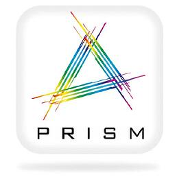 a rounded white square with a multicoloured A and PRISM written underneath it