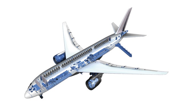 an image of an aeroplane with blue shapes on the side