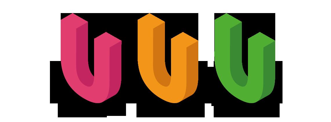 3, 3 dimensional, U's red, orange and green